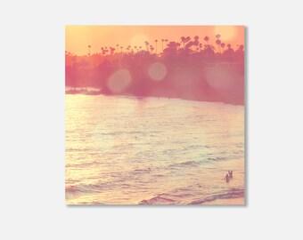 beach canvas wrap, sunset photograph, surfer art, Laguna Beach Orange County, summer vacation, seaside, palm trees, pink orange, nursery art