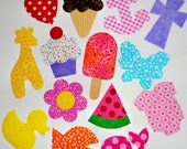14 Iron On Baby Girl Applique Assortment...Great For Baby Shower Onesie Making/Quilts/Onesies...Duck/Ice Cream/ Giraffe/Whale/Flower/Anchor