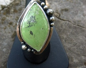 Green Turquoise ring - size 8.5 - sterling silver | stone statement ring | artisan metalwork