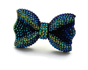 Large Sparkly Peacock Black Bow Adjustable Ring - Pinup, Rockabilly, Retro Faux Rhinestone Bow