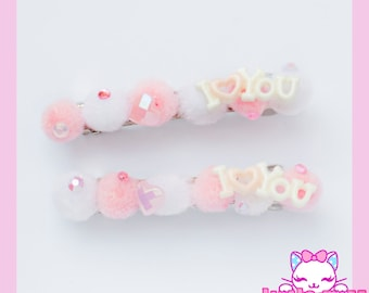 Fairy Kei PomPom 'I Love You' Barrette