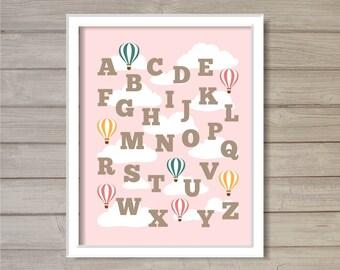 Nursery Alphabet ABCs Hot Air Balloon Printable Wall Art Pink 8x10 - Instant Download Baby Kids Children Baby Boy Room Decor Digital Print