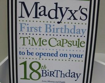 1st Birthday Time Capusule Keepsake box - Boys- your choice of color