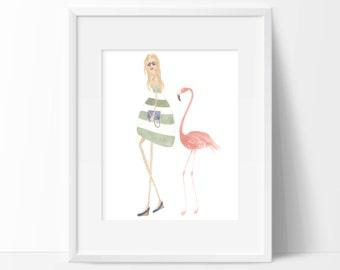flamingo art - fashion illustration - watercolor - art print - 10 x 8 art print