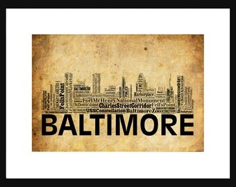 Boston skyline word art typography print poster map Calligraphy baltimore