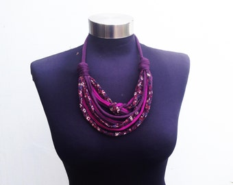 Winter liberty african style women recycle fabric necklace-pink purple flower pattern-soft fiber jewelry-decorative knot-textile jewelry