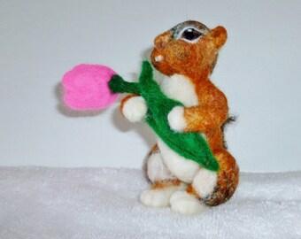 Chipmunk needle felted miniature wool animal