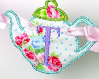 """Teapot Banner ITH Banner Machine Embroidery Design Pattern in 5 sizes 4"""", 5"""", 6"""", 7"""" and 8"""" perfect for a Tea Party"""