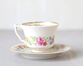 Gold Rimmed Rose Floral Teacup and Plate Set - Vintage Chic Home Decor