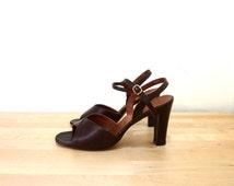 Vintage Brown Leather Heels / Ankle Strap Pumps / 70s Heels / Brown Pumps / Open Toe Shoes / Slingback Heels / Stiletto Heels US 9.5