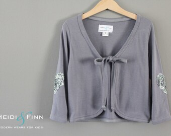 Sample SALE Sweetheart Grey Cardi  3T ready to ship cardigan sweater sequin sparkle
