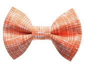 "Cat Bow Tie - ""The Firecracker"" - White with Orange Stripes"