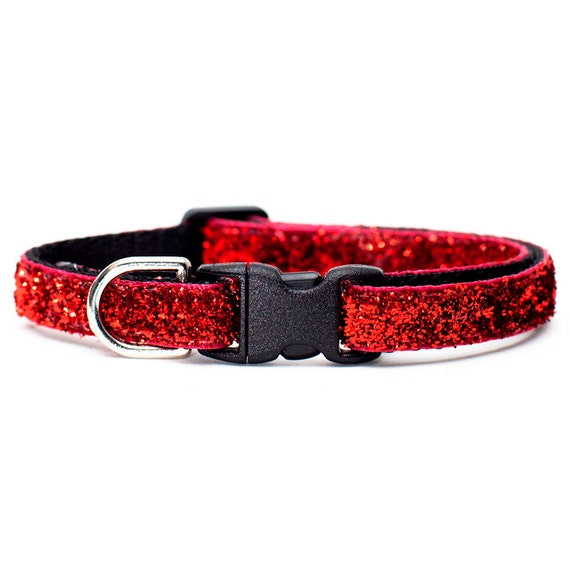 "Cat Collar - ""The No Place Like Home"" - Red Sparkle"