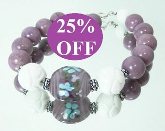NOW 25% OFF - Phosphosphororite, Carved Shell and Artist Lampwork Bracelet with Sterling Silver