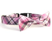 New Color! Lombard Plaid, Designer dog collars, Bow Tie Dog and Cat Collar Bow Tie Dog Wedding- Dog Collar, Wedding Dog Collar
