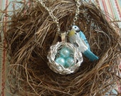 Hand Painted Resin Blue Jay on Silver Nest with Faux Pearl Eggs