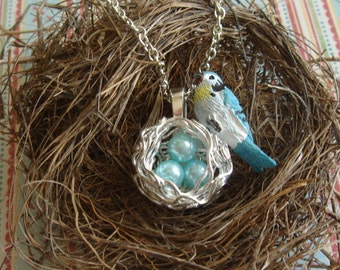 Blue Jay, Bird, Silver, Nest, Birds Nest, Eggs, Pearl, Aqua, Baby Blue, Gift for Her, Statement Necklace, Statement Necklace