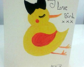 Hand painted Valentines Day card 'Happy Valentines Day Love Bird' - yellow