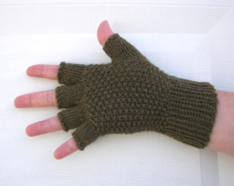 Hand Knit Half Finger Soft WOOL Gloves in Olive Green / Moss Heather / Textured seed stitch knit