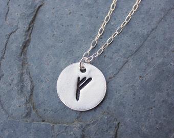 Circular rune stone necklace- Handmade fine silver Elder Futhark Rune- personalized runic initial - Fehu - Wealth - free shipping usa