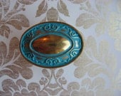 2 Brass Oval Knobs Traditional Vintage Knobs Pictured in Turquoise Blue B-7