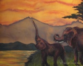 The Sisterhood, triptych, III of III, mixed media painting - Elephant art - limited edition archival print