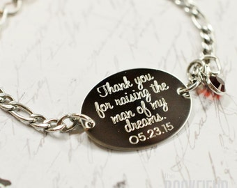 Thank you for raising the man of my dreams, personalized oval bracelet, stainless steel with swarovski crystal or pearl