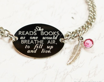 She reads books quote oval bracelet, stainless steel with swarovski crystal or pearl