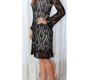 """Black Lace Beauty / Figure Hugging Dress / sheer boho style / Beach or Party  / 30"""" - 36"""" length can be specified / Made to Order"""