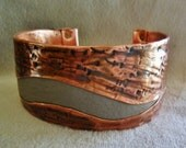 Light Grey Leather Textured Copper Mens or Womens Cuff Bracelet, Leather Mens Cuff, Mens Leather Cuff, Womens Leather Cuff