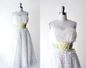60's white chiffon dress. 1960 gown. ruffles. prom dress. bow. yellow ball gown. small.