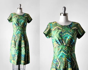 60's mosaic print dress. 1960's wiggle dress. blue, green, purple. bustle. 1960 s dress.