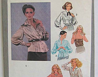 Vintage 70's Misses' Set of Blouses and Camisole Simplicity 9215 Sewing Pattern Size 8