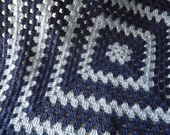 Crocheted Classic Style Granny Square Baby Blanket in Two Shades of Blue