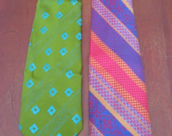 Vintage Men's Neckties / Set of 2 Vintage Neckties / Men's Vintage / One Woven in France / Bold Colored Ties