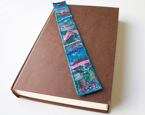River Reeds Skinny Bookmark - Blue Bookmark Beautiful Handmade Page Marker - Embroidered Bookmark Small Gift for Someone Who Loves Reading