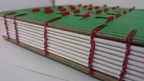Handmade coptic bound journal/sketchbook - vintage BINGO card book