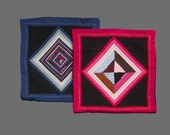 Two Pillow covers European shams 16 inches square Quilted Handmade Selvedge quilt square Blue border and Red border Black backing fabric