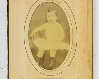 Two Victorian 1880s Photos  one of a young boy and the other a toddler from an old album page