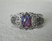 Dragons Breath Fire Opal Crescent Moon Cuff Bracelet, medieval jewelry renaissance jewelry tudor jewelry gothic jewelry victorian cosplay