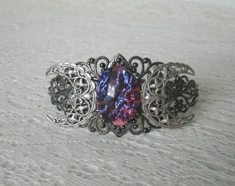 Fire Opal Triple Moon Goddess Cuff Bracelet, wiccan jewelry pagan jewelry wicca jewelry goddess jewelry witch witchcraft magic gothic mystic