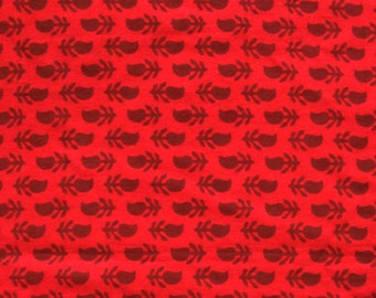Cotton Fabric - traditional indian - small reddish brown paisley print on red - 1 yard - ctbl023