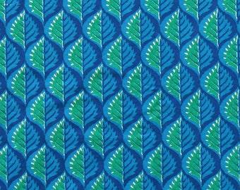 hand block print cotton fabric - blue and green border style print -1 yard - ctsm095