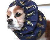 Gold Seahorse Dog Snood, Stay Put 3 Row Elastic Threads, Cavalier King Charles or Cocker Snood