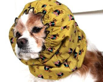 Tiny Owls Dog Snood,  Long Ear Coverup, Cavalier King Charles or Cocker Snood