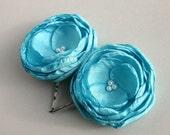 Teal Blue Wedding Hair Accessories, Tiffany Flower Hair Clips, Bridesmaid Hair Pieces, Aqua Flower Hair Pins, Flower Girl Hair Clip, Bridal