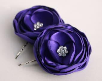 Purple Flower Hair Accessories, Purple Flower Hair clips, Violet Flower Hair Piece, Bridal Flower Hair Pins, Bridesmaid Hair Accessory