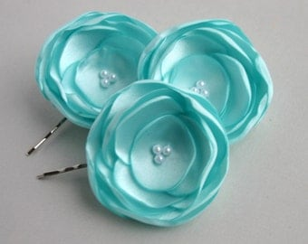 Aqua Flower Hair Clips, Aqua Hair Accessory, Aqua Wedding, Flower Accessory, Flower Hair Pieces, Bridesmaid Hair Accessory, Flower Girl Hair