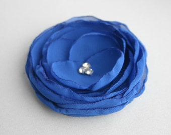 Blue Flower Hair Clip, Royal Blue Flower Hair Piece, Bridal Hair Piece, Bridesmaid Flower Hair Clip, Flower Girl Hair Pin, Floral Headpiece