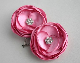 Antique Pink Flower Hair Clips, Rose Pink Flower Hair Pieces, Pink Wedding Hair Piece, Bridesmaid Accessory, Flower Hair Pins, Hairpieces